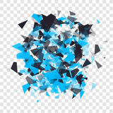 Abstract triangles particles with transparent shadows. Advertisement panel, infographic background, item showcase concept. Explosi Stock Images