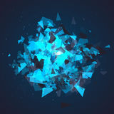 Abstract triangles particles with transparent shadows. Advertisement panel, infographic background, item showcase concept. Explosi Stock Photography