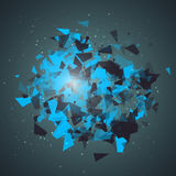 Abstract triangles particles with transparent shadows.   Royalty Free Stock Photo