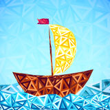 Abstract triangles pattern vector simple boat Royalty Free Stock Images