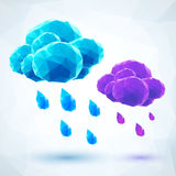 Abstract triangles rainy vector clouds Stock Images