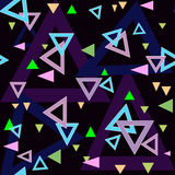Abstract triangles seamless pattern background texture on black Stock Images