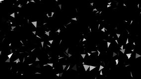 Abstract triangles in space on black background Royalty Free Stock Photo