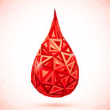 Abstract triangles vector drop of blood Royalty Free Stock Photo