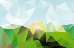 Abstract triangluar background. Abstract triangular landscape background made of triangular polygons (blue, yellow, green stock illustration