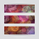 Abstract triangular blurred banners set with mosai Stock Photo