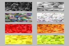 Abstract triangular polygon pattern mosaic banner template background set - vector illustrations from colored triangles Royalty Free Stock Image
