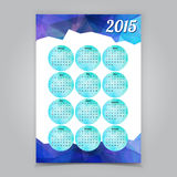 Abstract Triangular Polygonal 2015 year calendar. Abstract blue  Triangular Polygonal 2015 year calendar Stock Photos