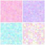 Abstract triangular seamless patterns. Set of abstract soft colored seamless patterns triangular geometry. Vector backgrounds stock illustration
