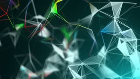 Abstract triangulation plexus with connections in space, background with connecting dots and lines, 3d rendering. Abstract triangulation plexus with connections Stock Illustration
