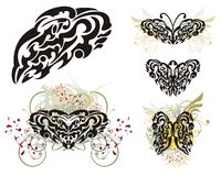 Abstract tribal butterflies wings splashes Stock Photo