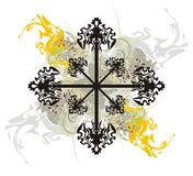 Abstract tribal cross with splashes Stock Photo