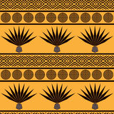 Abstract tribal ethnic background. Seamless pattern with blue agave royalty free illustration