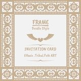 Abstract tribal ethnic pattern style vector frame . Boho style frame and invitation royalty free illustration