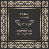 Abstract tribal ethnic pattern style vector frame . Boho style frame and invitation vector illustration