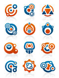 Abstract tribal icons and symbols. Set of 12 abstract tribal design elements and graphics Royalty Free Stock Image