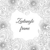Abstract tribal zentangle floral frame background. Royalty Free Stock Photo