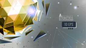 Abstract trinangle sphere on connection dot BG. Golden polygonal abstract triangle sphere combination on connection dot space background graphic template Stock Photo
