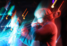 Abstract trombone concert. Motion blur background Stock Images