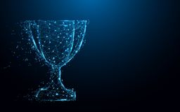 Abstract Trophy cup form lines and triangles, point connecting network on blue background. Illustration vector Stock Images