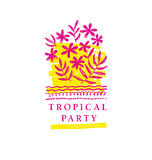 Abstract tropical flower hand drawn element. Stock Photo