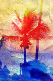 Abstract tropical landscape Stock Photos