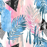 Abstract tropical leaves filled with watercolor rough grunge texture, doodle elements on stained background. Stock Photography