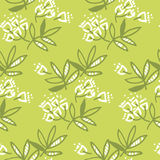 Abstract tropical leaves and flowers seamless pattern. For wrapping paper, fabric, box, cloth, background, wallpaper. Decorative repeatable surface design in Royalty Free Illustration