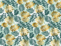 Abstract tropical leaves seamless pattern. In emerald green color. Decorative summer nature surface design. vector illustration for print, card, poster, decor Stock Photo