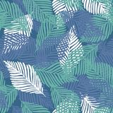 Abstract tropical pattern, palm leaves seamless floral background vector illustration