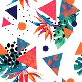 Abstract tropical summer design in minimal style. Watercolor exotic flowers, leaves, splatter grunge textures, doodles. Water color background with 80s or 90s Royalty Free Stock Photos
