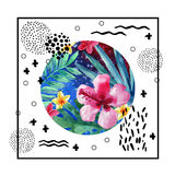 Abstract tropical summer poster design in minimal style. Watercolor exotic flowers, palm leaves, grunge textures, doodles. Water color background with 80s or Royalty Free Stock Photos