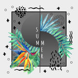 Abstract tropical summer poster design in minimal style. Stock Photos