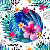 Abstract tropical summer seamless pattern in minimal style. Royalty Free Stock Images