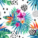 Abstract tropical summer seamless pattern. Watercolor exotic flowers, palm leaves, grunge textures, doodles. Water color background with 80s or 90s elements Royalty Free Stock Photos