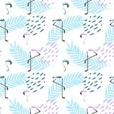 ABSTRACT TROPICAL TEXTURE. FLAMINGO HAND DRAW COMPOSITION OF SUMMER FEELING SEAMLESS VECTOR PATTERN. SUMMER FEELING. MELON PINEAPPLE ICE CREAM ILLUSTRATION Stock Images