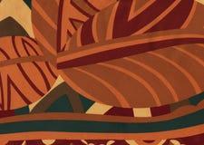 Abstract tropisch bruin gebladertepatroon royalty-vrije stock fotografie