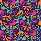 Abstract tropisch kleurrijk bloemen naadloos patroon vector illustratie