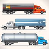 Abstract Trucks with Trailers of Various Types. Royalty Free Stock Photography
