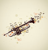 Abstract trumpet and notes Stock Photography