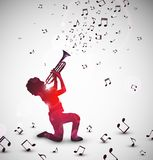 Abstract trumpeter. Abstract background with trumpeter. Eps 10 Stock Image