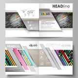 Abstract tubes and dots. Glowing multicolored texture. Business templates for square design bi fold brochure, flyer. Business templates for square design bi fold Stock Photography