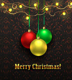 Abstract tubular glossy background for design. Colorful christmas balls. Set of realistic decorations. Vector illustration Royalty Free Stock Images
