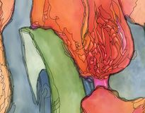 Abstract tulips artwork green orange. Colors with black contour art nouveau style digital illustration closeup Royalty Free Stock Photo