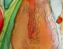 Abstract tulips artwork red orange closeup art nouveau style. Abstract tulips artwork red orange colors with black contour art nouveau style digital illustration Stock Photo