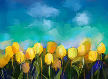 Abstract tulips flowers oil painting. With blue sky background stock illustration