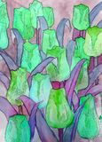Abstract tulips green purple artwork with black contour art nouveau. Abstract tulips artwork with black contour art nouveau style digital illustration closeup Stock Photo