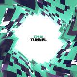 Abstract tunnel of boxes. Vortex border. 3d  twist illustration. Web banner Royalty Free Stock Images