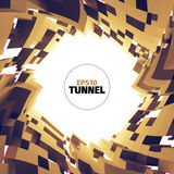 Abstract tunnel of boxes. Vortex border. 3d  twist illustration. For web or printing Royalty Free Stock Photo