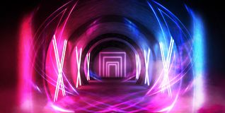 Abstract tunnel, corridor with rays of light and new highlights. Abstract blue background, neon. royalty free illustration